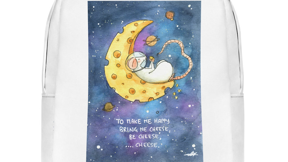 Mouse on a Cheese Moon Watercolor Original Design Minimalist Backpack