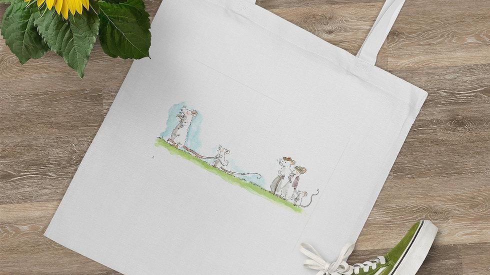Mice with Grandparents Watercolor Original Design Tote Bag