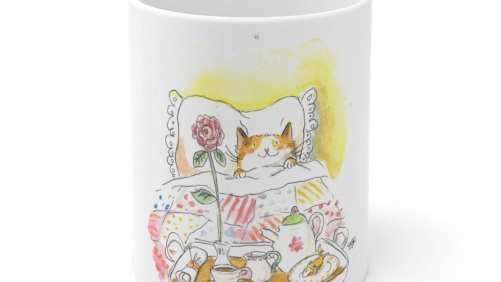 Cat in the Bed with Breakfast Watercolor Original Design Ceramic Mug (EU)
