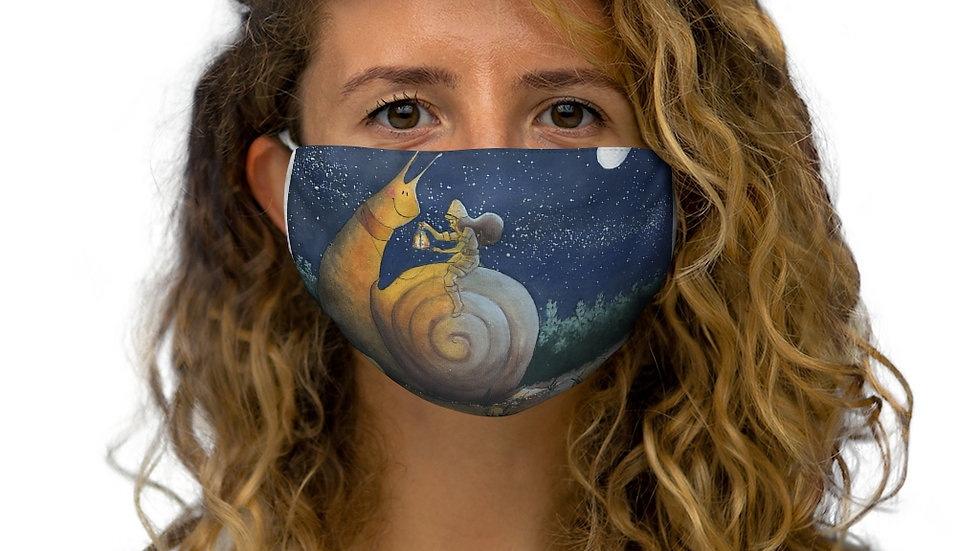 The Snail's Journey Inspired Gouache Painting Snug-Fit Polyester Face Mask