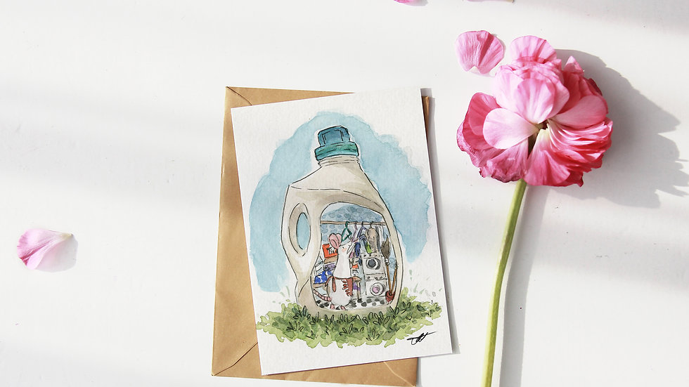 Cute Mouse in the Bottle Watercolor Original Design Greetings Card