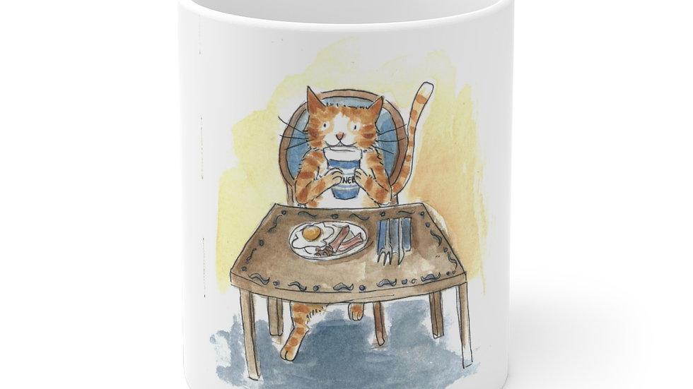 Eating Cat at the Table Watercolor Original Design Ceramic Mug (EU)