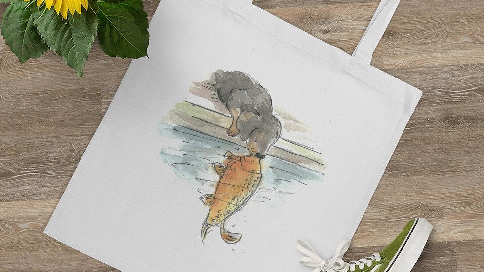 Dachshund & Carp Watercolor Original Design Tote Bag