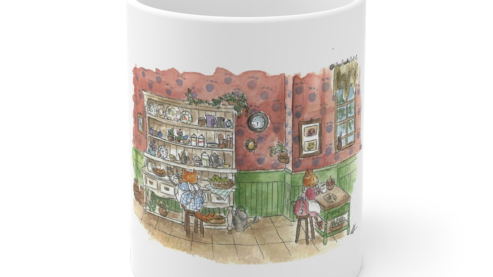 Cooking Cats Watercolor Original Design Ceramic Mug (EU)
