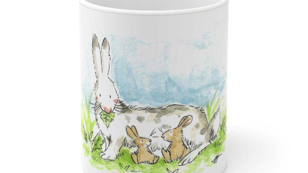 Rabbit Mom Watercolor Original Design Ceramic Mug (EU)