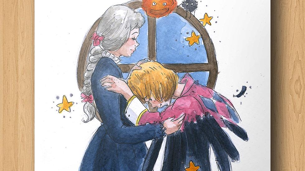 Ghibli Howl at the Window Original Design Print