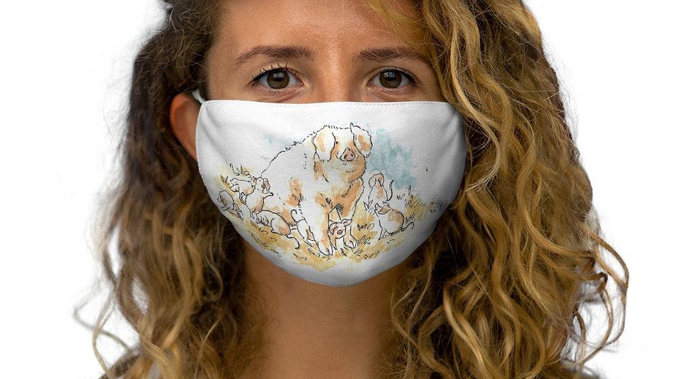 Cute Pigs Family Watercolor Original Design Snug-Fit Polyester Face Mask