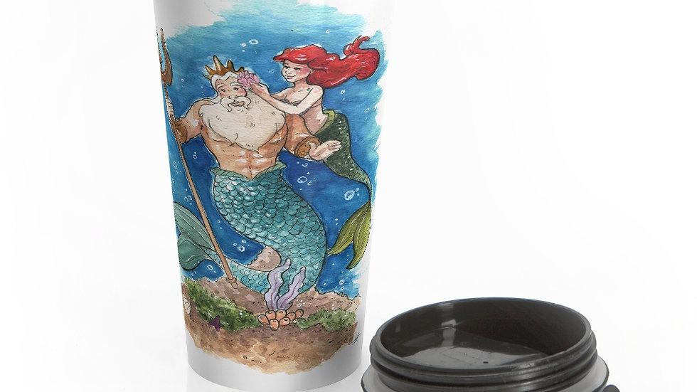 Disney Little Mermaid with Triton Original Design Stainless Steel Travel Mug