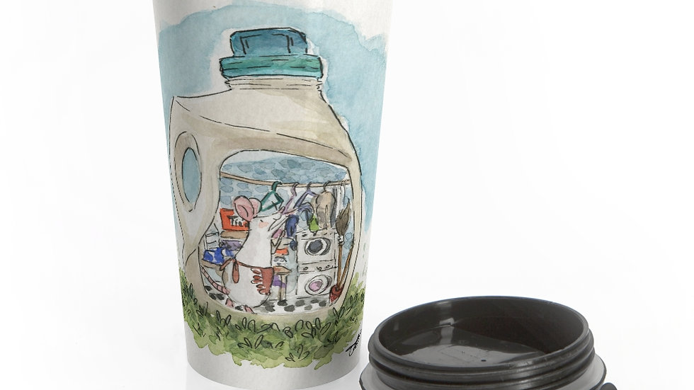 Cute Mouse in the Bottle Watercolor Original Design Stainless Steel Travel Mug