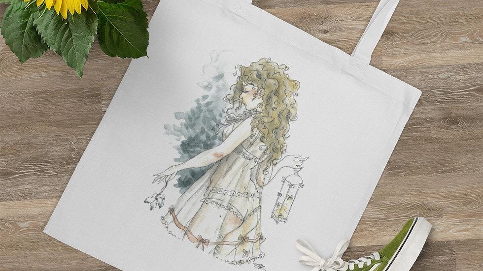 Little Princess in White Watercolor Original Design Tote Bag