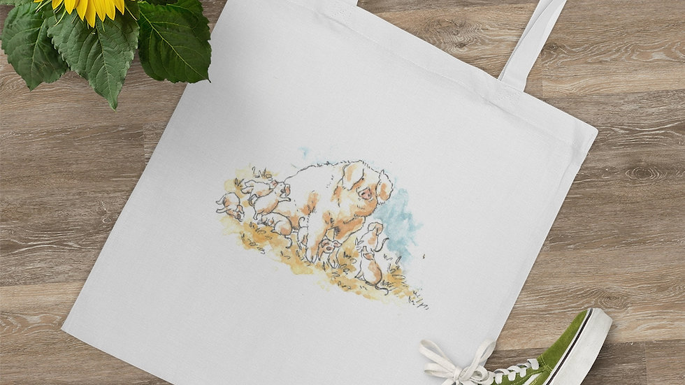 Cute Pig Family Watercolor Original Design Tote Bag