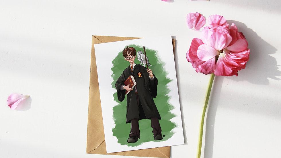 Harry Potter Hogwarts Digital Watercolor Design Greetings Card
