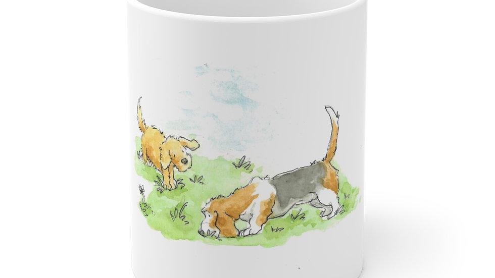 Bassett Hound Watercolor Original Design Ceramic Mug (EU)