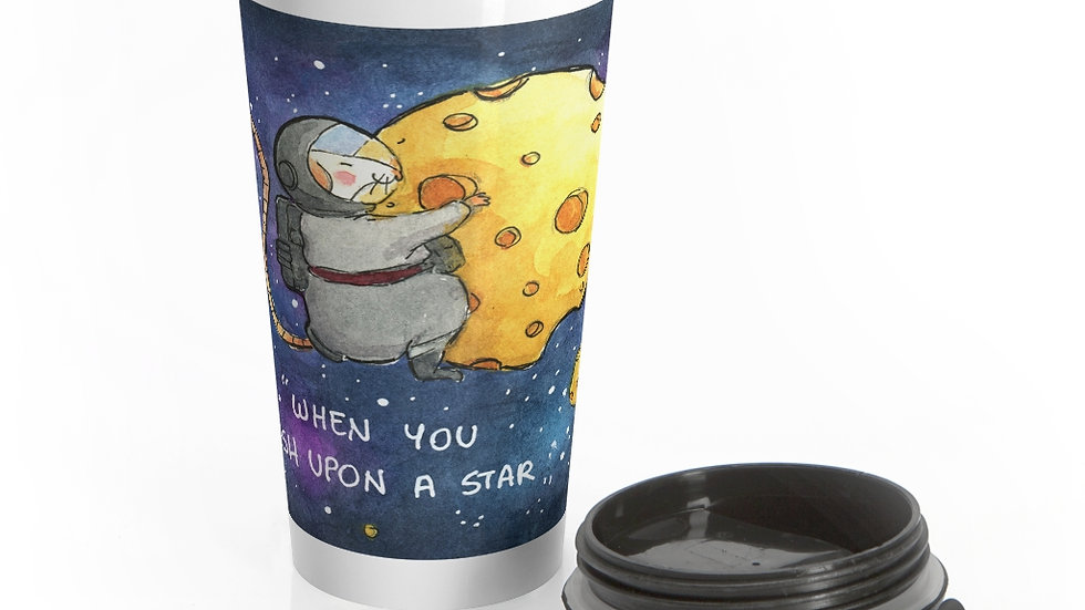 Mice on Cheese Planets Watercolor Original Design Stainless Steel Travel Mug