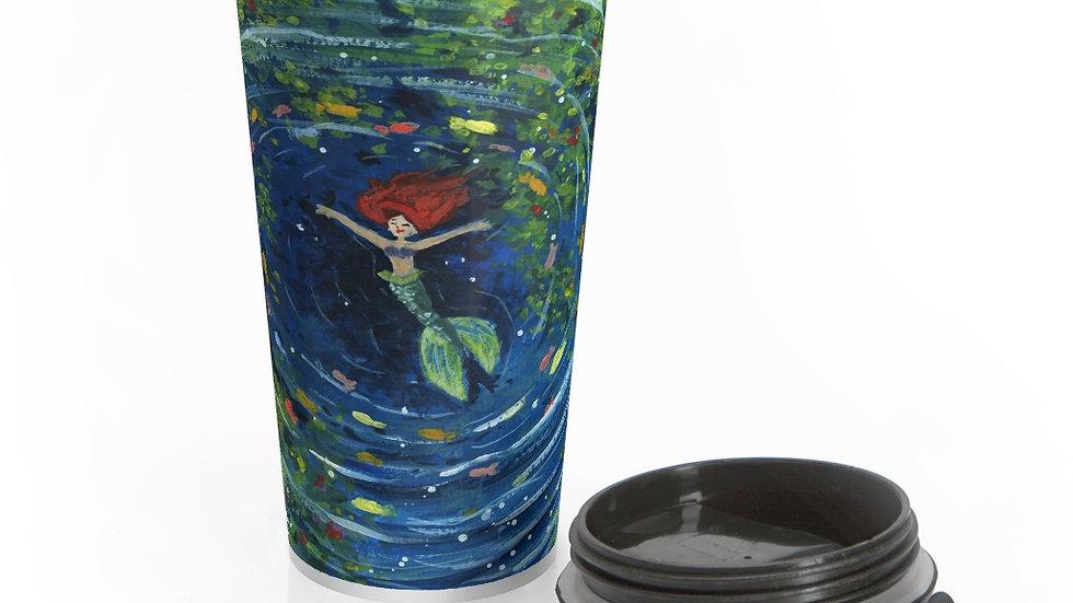 Little Mermaid in the Lagoon Gouache Original Design Stainless Steel Travel Mug