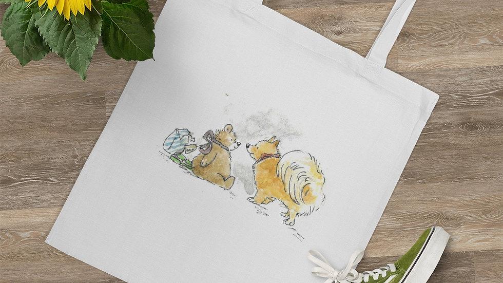 Pomeranian & Teddy Bear Watercolor Original Design Tote Bag