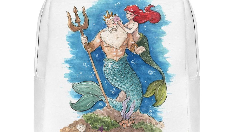Disney Little Mermaid with Triton Watercolor Original Design Minimalist Backpack