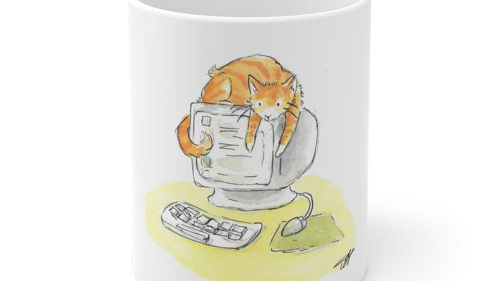 Cat on the PC Watercolor Original Design Ceramic Mug (EU)
