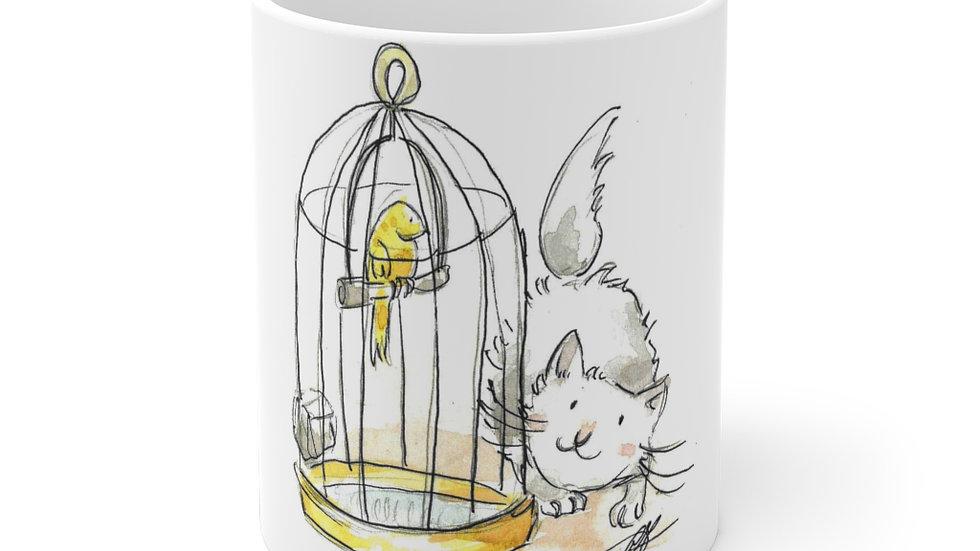 Hungry Cat & Bird Watercolor Original Design Ceramic Mug (EU)
