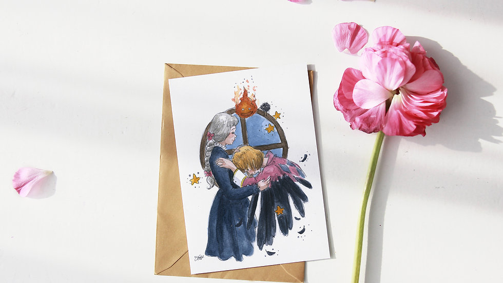 Studio Ghibli Howl's Moving Castle Watercolor Original Design Greetings Card