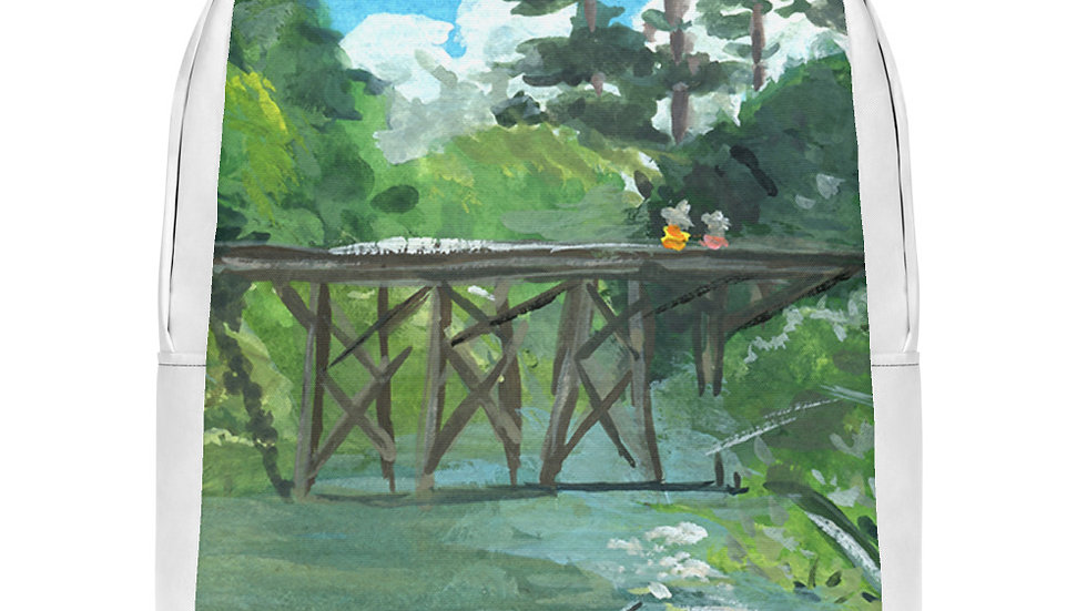 Bridge Across the River Inspired Gouache Painting Minimalist Backpack