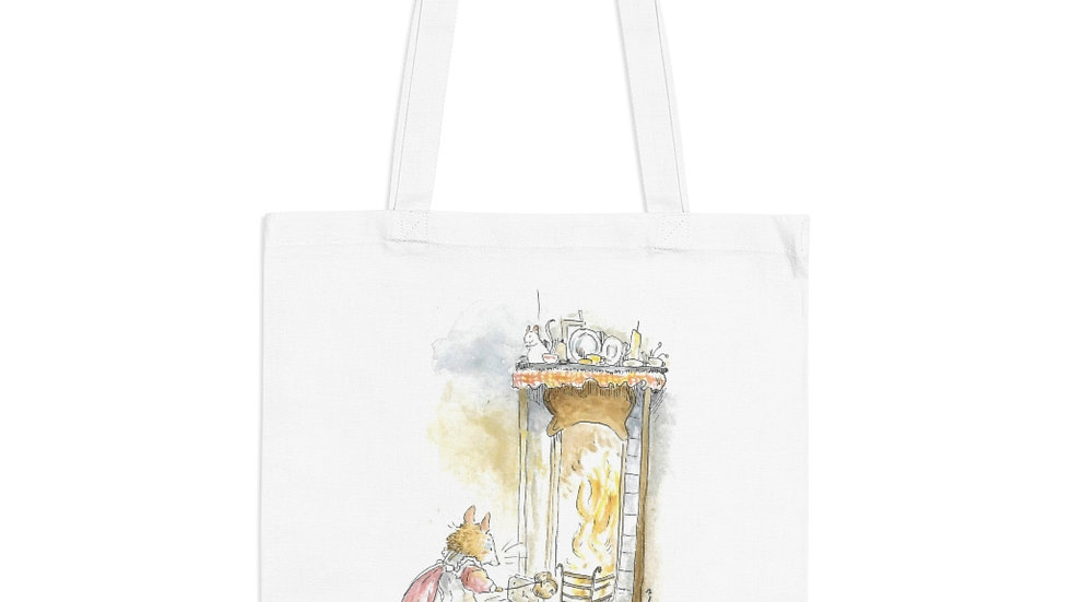 Mouse in front of the Chimney Watercolor Original Design Tote Bag