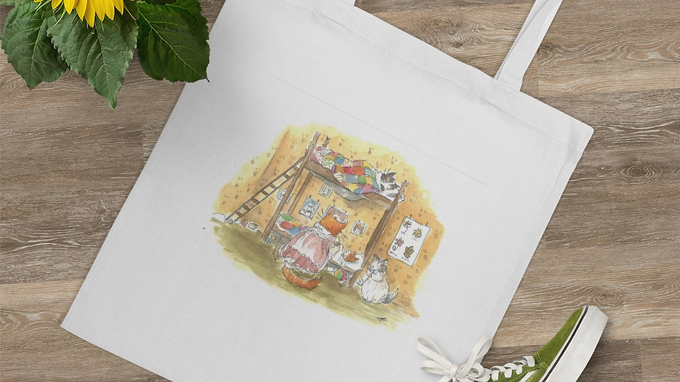 Sleeping Kittens on the Bunk Bed Watercolor Original Design Tote Bag