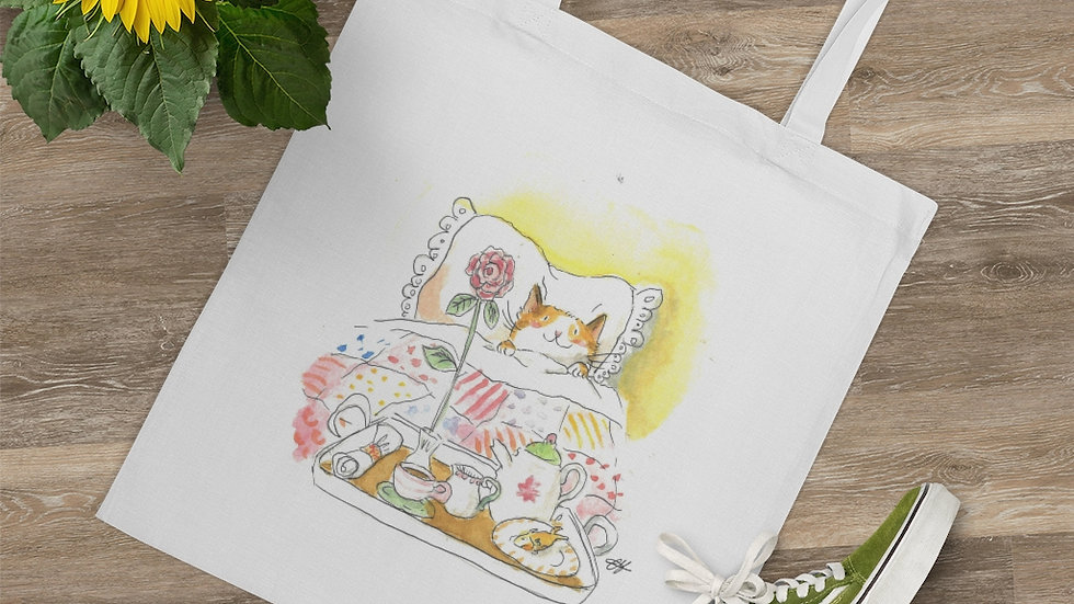 Cat in the Bed with Breakfast Watercolor Original Design Tote Bag