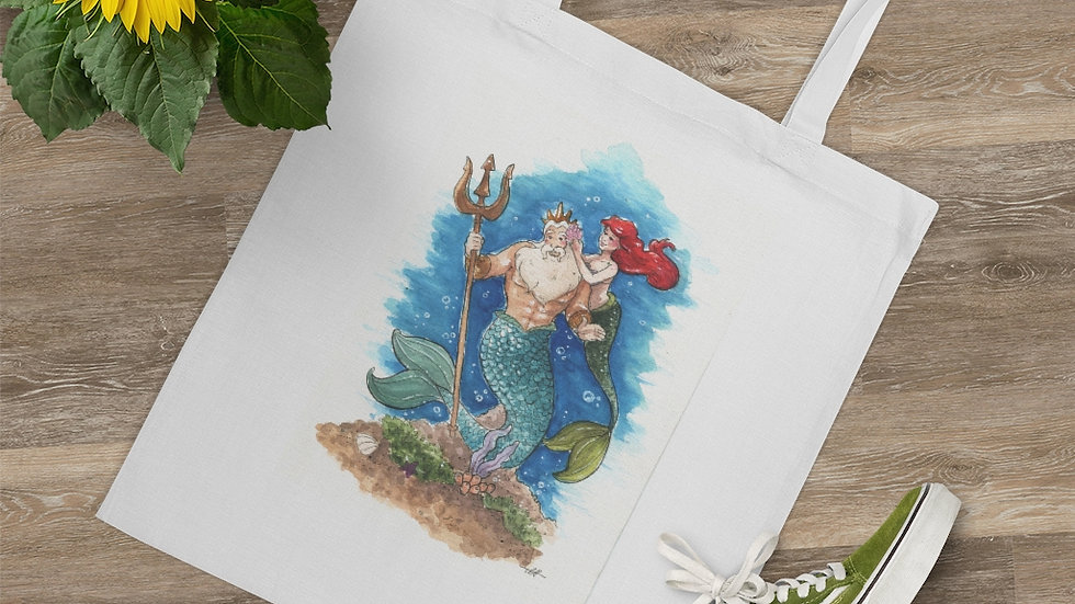 Disney Little Mermaid with Triton Watercolor Original Design Tote Bag
