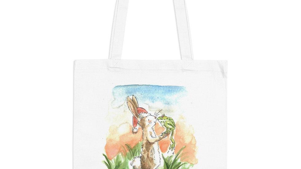 Rabbit & Frog Watercolor Original Design Tote Bag