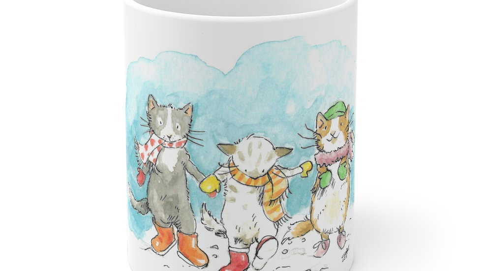 Dancing Cats in the Snow Watercolor Original Design Ceramic Mug (EU)