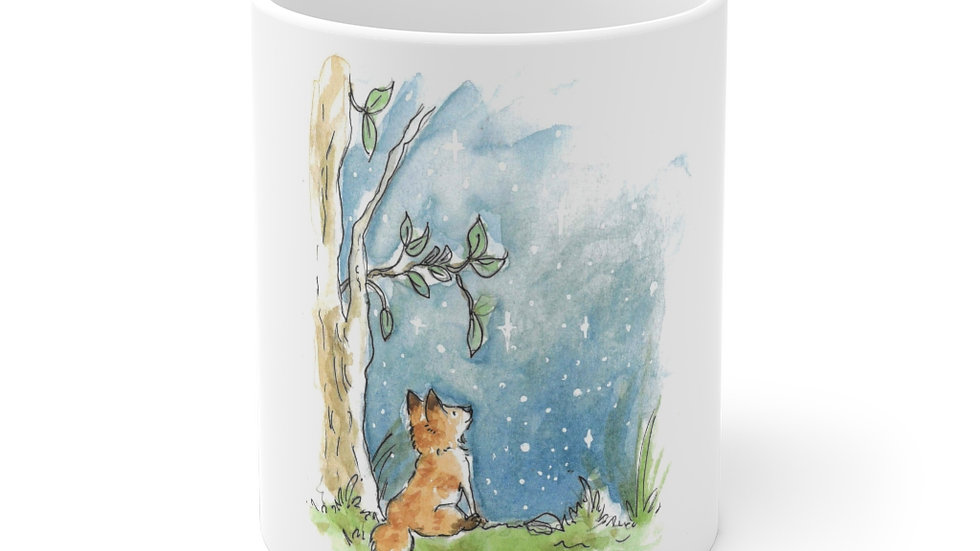 The Fox and the Stars Watercolor Original Design Ceramic Mug (EU)