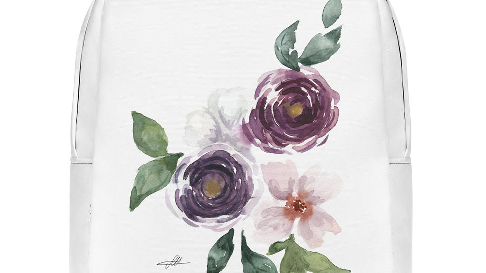 3 Roses Watercolor Original Design Minimalist Backpack