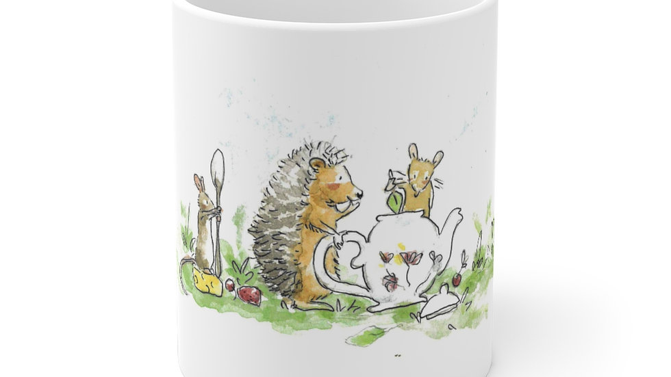 Hedgehog & Mice Watercolor Original Design Ceramic Mug (EU)