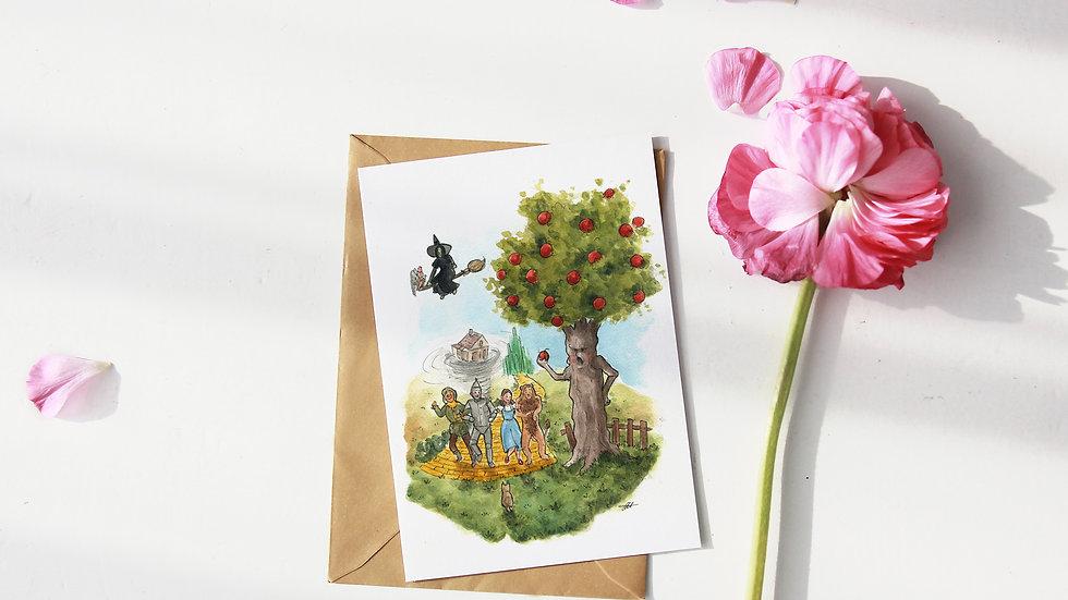 The Wonderful Wizard of Oz Watercolor Original DesignGreetings Card