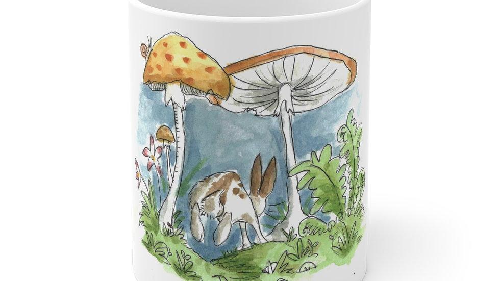 Rabbit & Mushrooms Watercolor Original Design Ceramic Mug (EU)