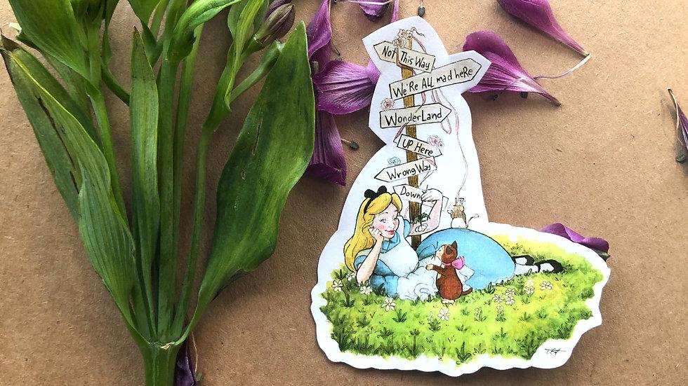 Disney Cute Alice in Wonderland Original Design Handmade Sticker