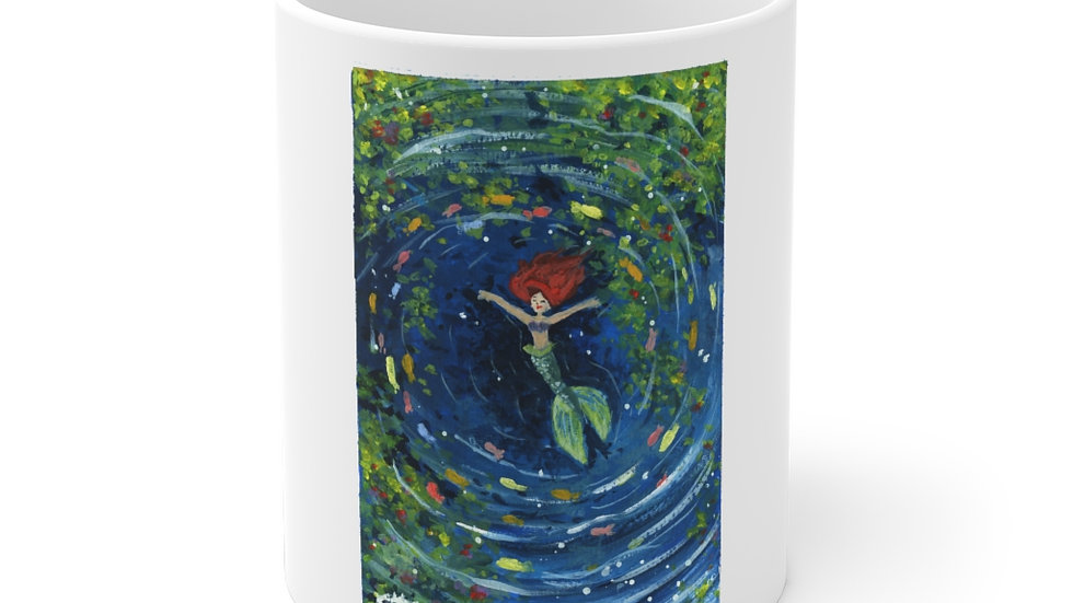 Little Mermaid Swimming in the Lagoon Gouache Original Design Ceramic Mug (EU)