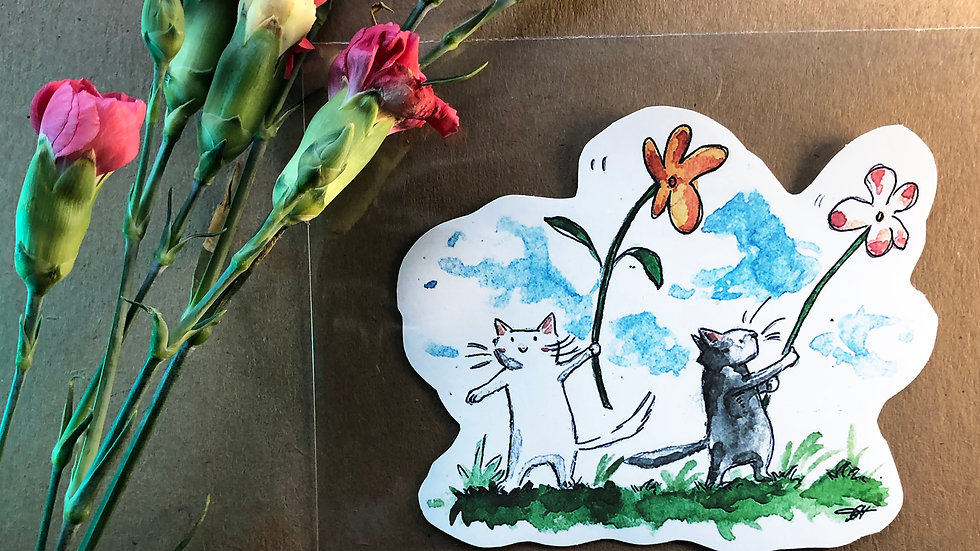 Kittens with Waving Flowers Original Design Handmade Sticker