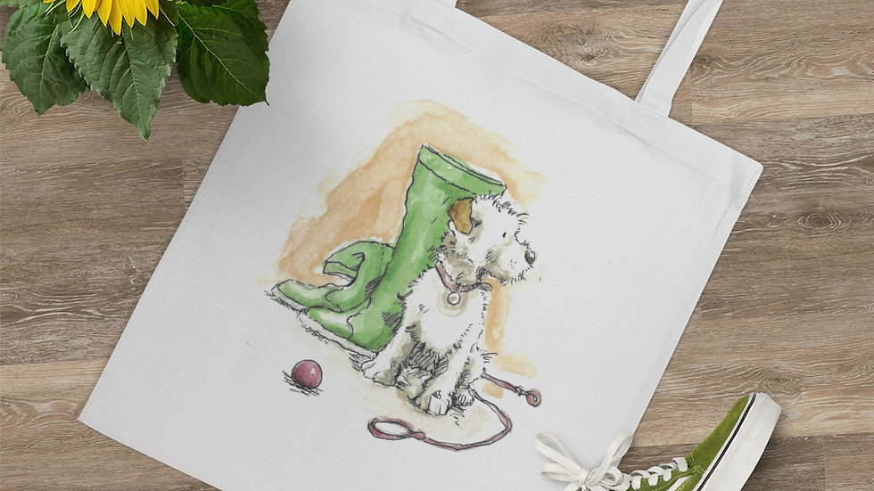 Dog & Boots Watercolor Original Design Tote Bag