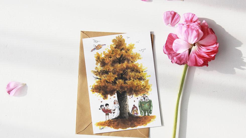 Studio Ghibli Future Boy Tree Watercolor Original Design Greetings Card