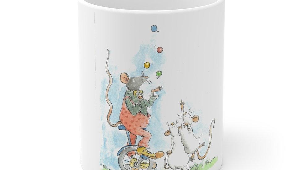 Juggling Mouse Watercolor Original Design Ceramic Mug (EU)