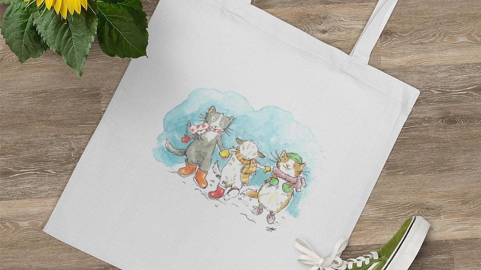 Dancing Cats in the Snow Watercolor Original Design Tote Bag