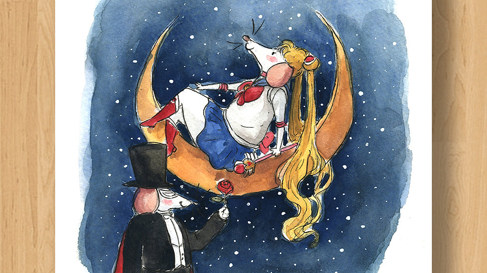 Sailor Mice on the Moon Original Design Print