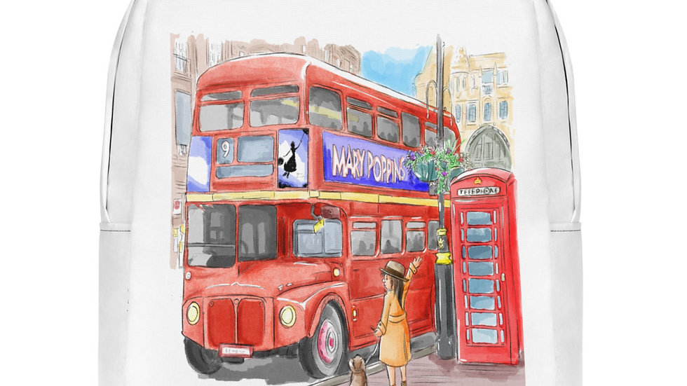 London Bus Watercolor Original Design Minimalist Backpack