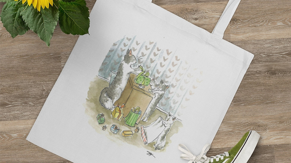 Cats making Presents Watercolor Original Design Tote Bag