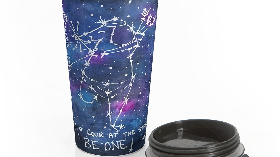 The Mouse Constellation Watercolor Original Design Stainless Steel Travel Mug