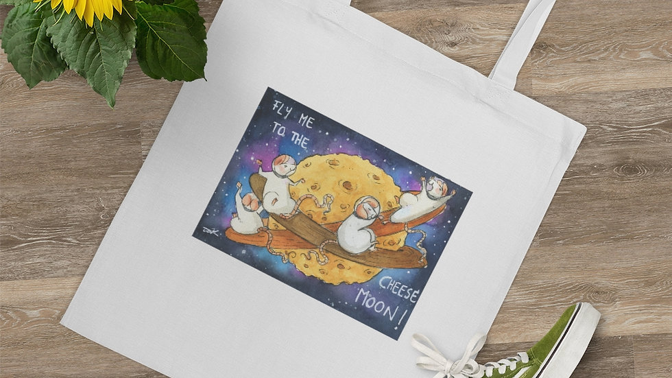 Fly Me to the Cheese Moon Watercolor <original Design Tote Bag