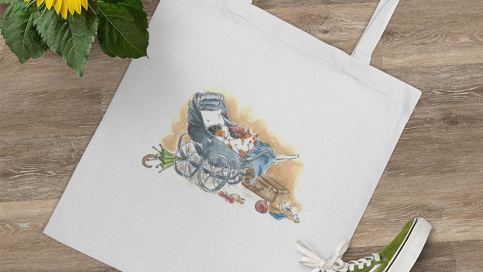 Cat in the Stroller Watercolor Original Design Tote Bag