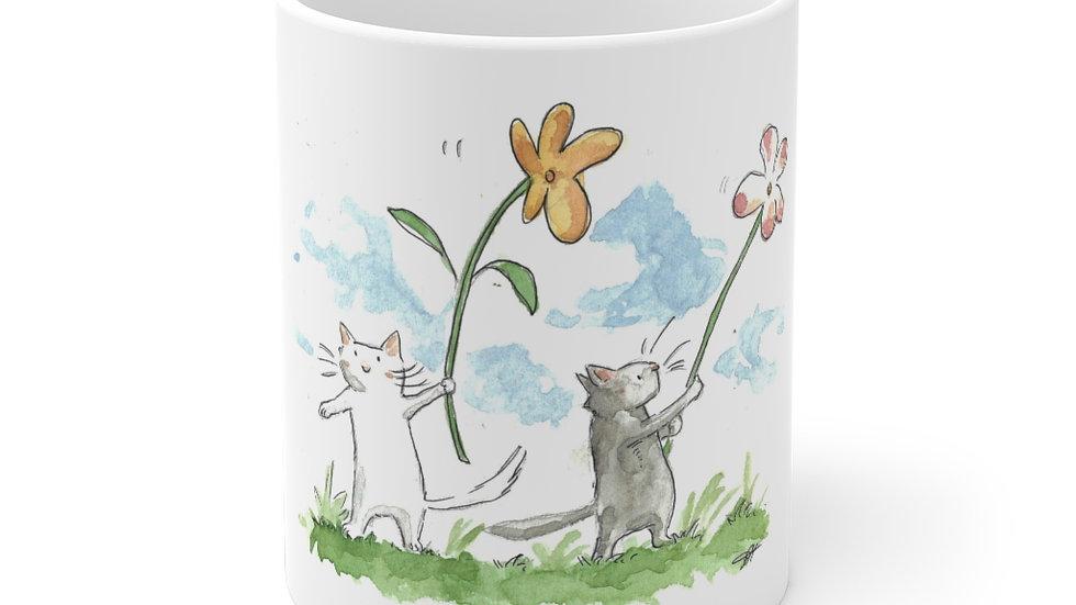 Cats with Waving Flowers Watercolor Original Design Ceramic Mug (EU)